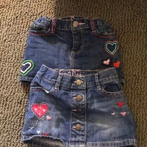 2 Gap Kids embroidered  Jean skirts